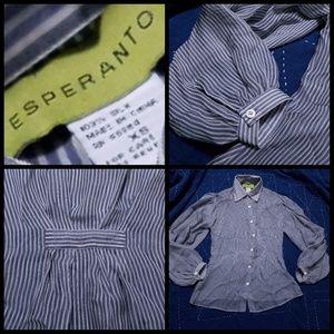 Tops - 100% silk grey button down blouse xs
